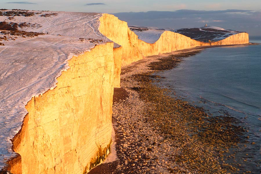 View along the Seven Sisters under a dusting of snow - part of the England Coast Path
