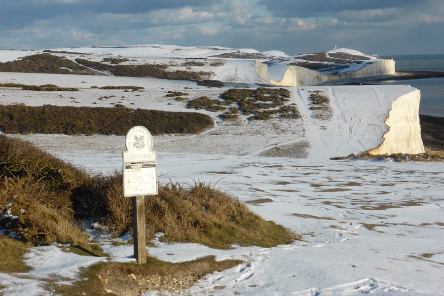View towards Seven Sisters and Birling Gap under a dusting of snow - part of the England Coast Path