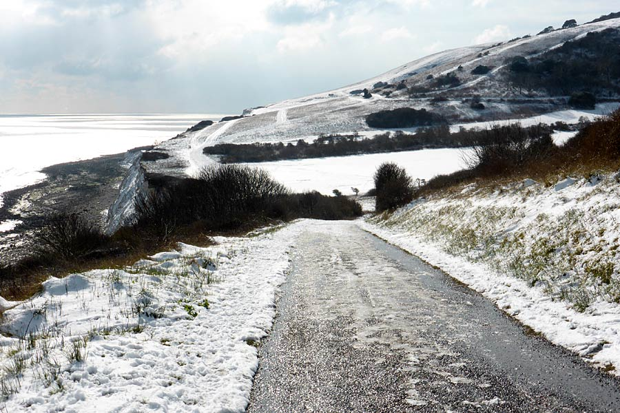 View towards Beachy Head under a dusting of snow - part of the England Coast Path