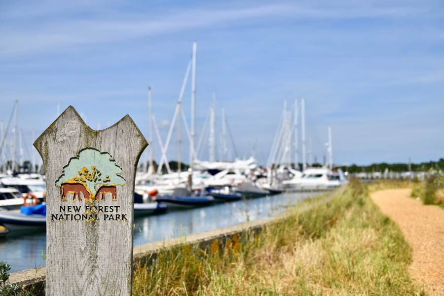 New Forest National Park sign at Lymington - on the England Coast Path